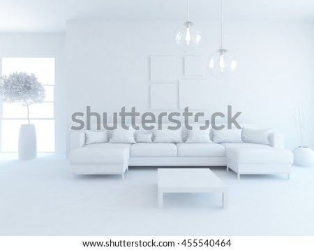 room interior with sofa in a white. Living room interior. Scandinavian interior. 3d illustration