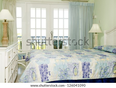 room interior with view of Caribbean Sea St. Lawrence Gap Barbados - stock photo