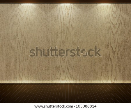 Room interior, wood background from wood wall and dark brown wooden floor - stock photo