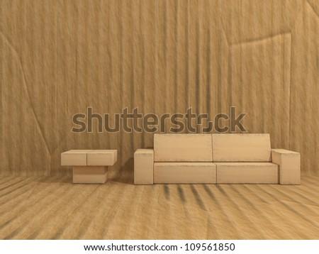 room is made of cardboard - stock photo