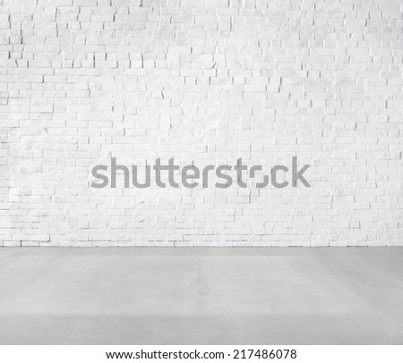 Room Made of Brick Wall and Concrete Floor - stock photo