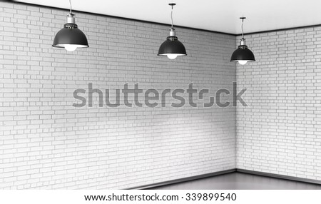 Room of brick with three ceiling lights. 3d rendering. - stock photo