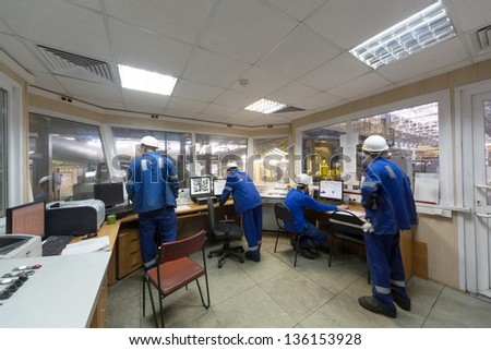Room of control devices in the manufacturing shop of plant - stock photo