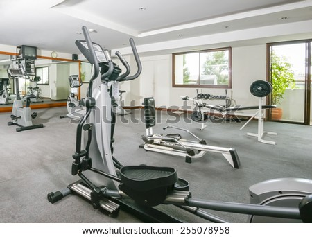 Room of fitness machines for member