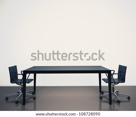 room office table and chairs. 3d image. - stock photo
