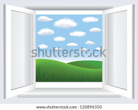 Room, opened window with empty space in blue sky, clouds and green hill - stock photo