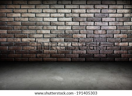 Room perspective,brick wall and cement ground