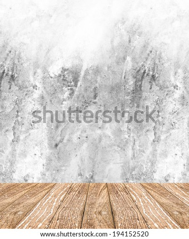 Room perspective - Rough cement wall and wooden floor