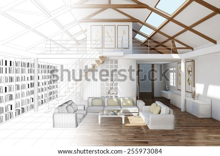 Room planning for living room in the top floor of a house (3D Rendering) - stock photo