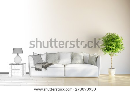 Room planning of living room from CAD mesh to 3D Rendering - stock photo
