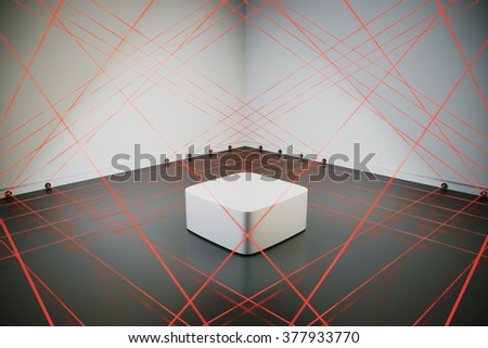 room safe with a laser security system, 3d rendering - stock photo
