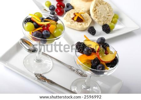 Room service style breakfast spread. - stock photo