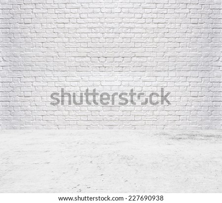 Room white ,Brick wall background and cement floor - stock photo
