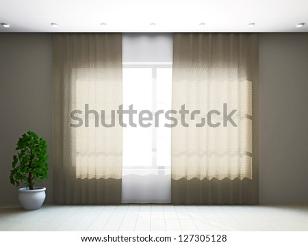 Room window with curtains and a plant near the wall - stock photo