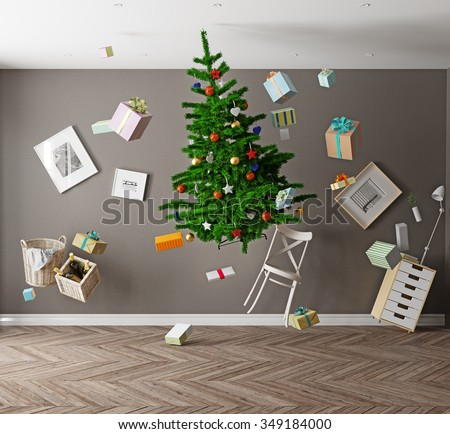 room with a Christmas tree and zero gravity. 3d concept - stock photo
