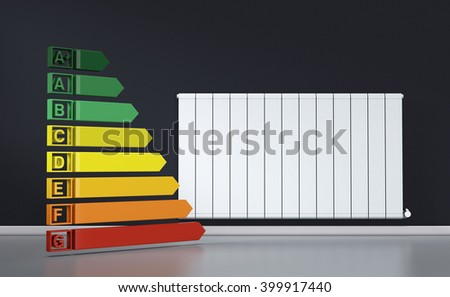 room with a modern radiator on a dark wall and an energy efficiency diagram (3d render)