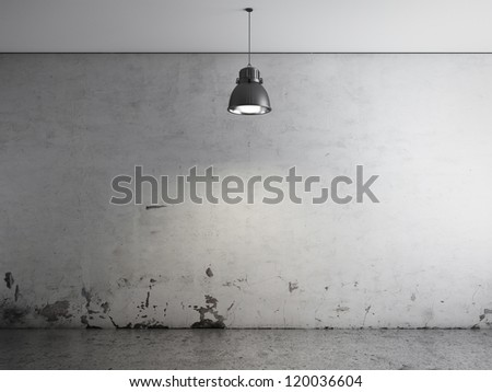 Room with ceiling lamp and concrete floor - stock photo
