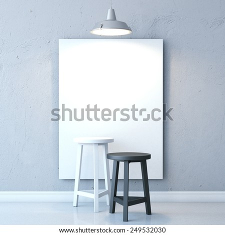 Room with chairs, blank canvas and lamp. 3d rendering - stock photo