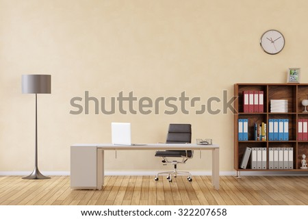 Room with desk and laptop computer as business office (3D Rendering) - stock photo