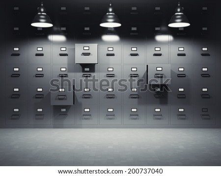 Room with file cabinets illuminated by lamps - stock photo