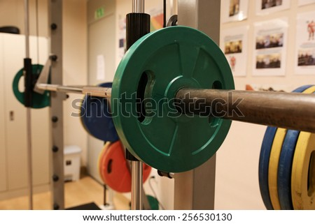 Room with gym equipment in the sport club, sport club gym , Health and recreation room - stock photo