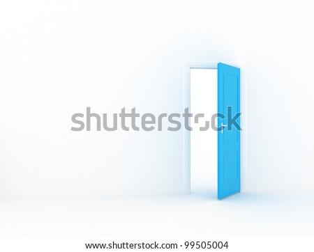 Room with open blue doors - stock photo