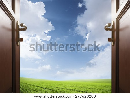 room with open door to the meadow with green grass and glue sky - stock photo