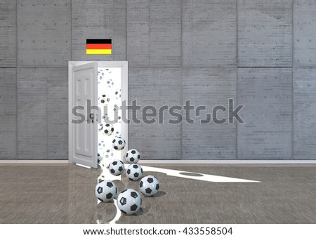 Room with opened door, german flag and footballs. 3d illustration.