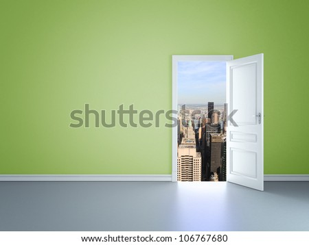 room with opened door to skyscrapers - stock photo