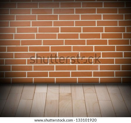 Room with red brick wall background