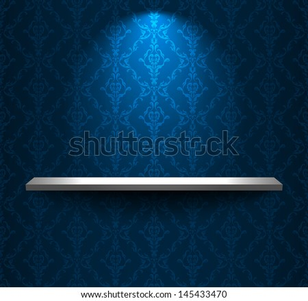 Room with shelf and blue retro wallpaper - stock photo