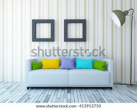 Room with sofa. Living room interior.Scandinavian interior. 3d illustration - stock photo