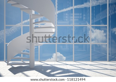 Room with spiral staircase and blue sky background