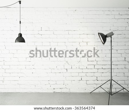 room with spotlight and lamp. 3d renedr - stock photo