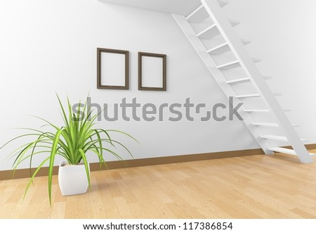room with stairs and frames - stock photo