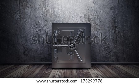 room with steel safe, grunge wall and wooden floor. interior background  - stock photo