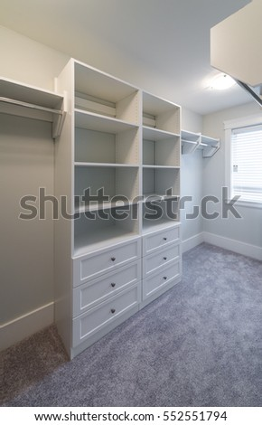 Room With The Open Empty Closet, Working Closet, Cupboard With Some Racks,  Hangers