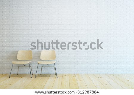 room with two modern chair and white brick wall - stock photo