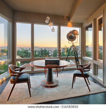 Room with View in Luxury Home - stock photo