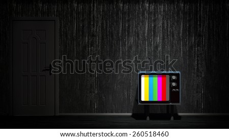 room with vintage TV. Depending on the TV - stock photo
