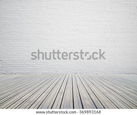 Room with white brick wall with wooden floor empty nobody - stock photo