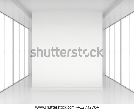 Room with windows and white columns. 3d render - stock photo