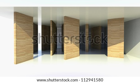Room with wood partition, abstract architecture - 3d illustration - stock photo