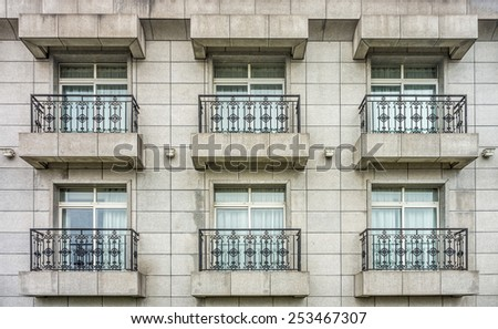 Rooms with balconies of building
