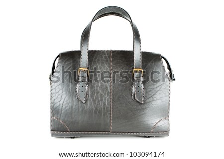 Roomy black leather bag isolated on white background - stock photo