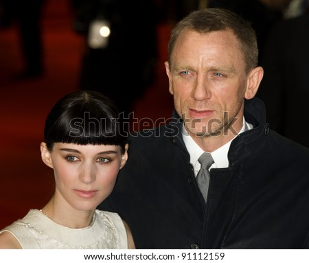 "Rooney Mara and Daniel Craig arriving for the premiere of ""The Girl with The Dragon Tattoo"" at the Odeon Leicester Square, London. 13/12/2011. Picture by: Simon Burchell / Featureflash - stock photo"