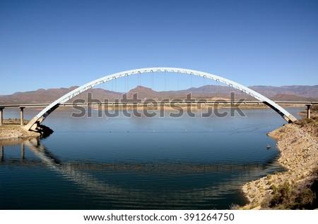 Roosevelt Lake Bridge in Arizona - stock photo