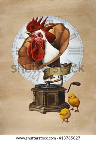 Rooster and gramophone.  Acrylic painting on paper toned coffee.