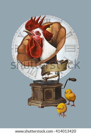 Rooster and gramophone.  Isolated on background. - stock photo