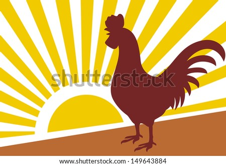 rooster and morning sun (rooster at dawn) - stock photo